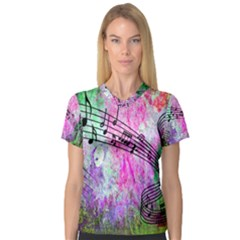 Abstract Music  Women s V Neck Sport Mesh Tee
