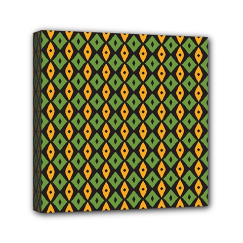 Green Yellow Rhombus Pattern Mini Canvas 6  X 6  (stretched) by LalyLauraFLM