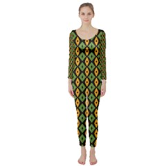 Green Yellow Rhombus Pattern  Long Sleeve Catsuit by LalyLauraFLM