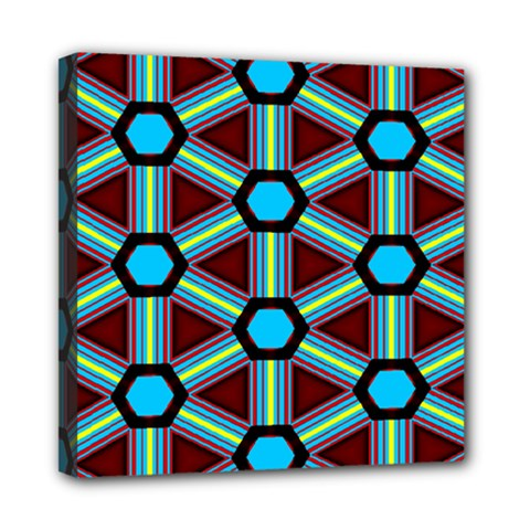 Stripes And Hexagon Pattern Mini Canvas 8  X 8  (stretched) by LalyLauraFLM