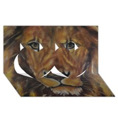 Cecil The African Lion Twin Hearts 3d Greeting Card (8x4)  by timelessartoncanvas