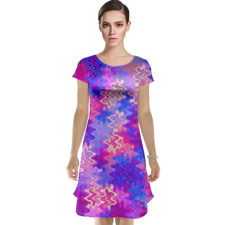 Pink and Purple Marble Waves Cap Sleeve Nightdresses