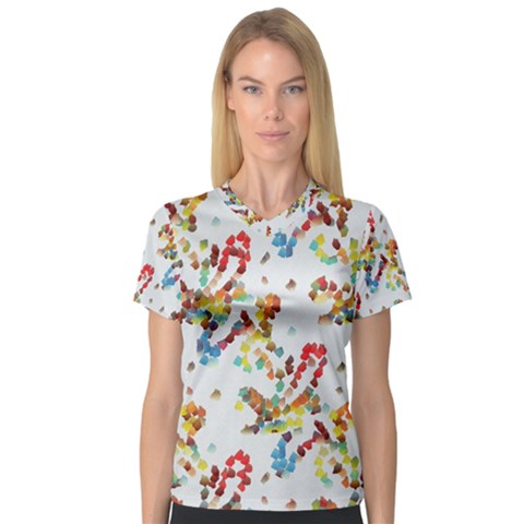 Colorful Paint Strokes Women s V-neck Sport Mesh Tee by LalyLauraFLM