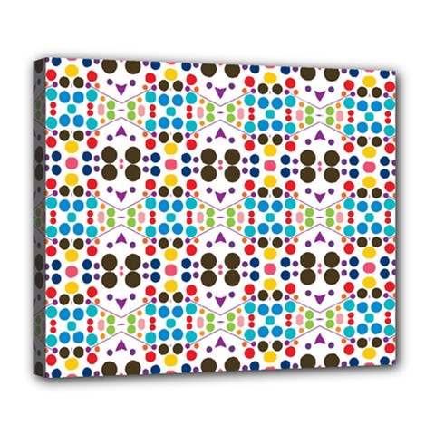Colorful Dots Pattern Deluxe Canvas 24  X 20  (stretched) by LalyLauraFLM
