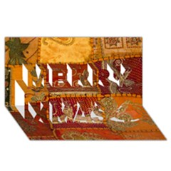 India Print Realism Fabric Art Merry Xmas 3d Greeting Card (8x4)  by TheWowFactor