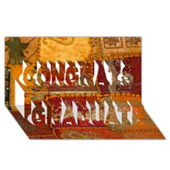 India Print Realism Fabric Art Congrats Graduate 3d Greeting Card (8x4)  by TheWowFactor