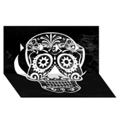 Skull Twin Hearts 3d Greeting Card (8x4)  by ImpressiveMoments