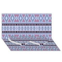 Fancy Tribal Border Pattern Blue Twin Heart Bottom 3d Greeting Card (8x4)  by ImpressiveMoments