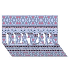 Fancy Tribal Border Pattern Blue Best Sis 3d Greeting Card (8x4)  by ImpressiveMoments