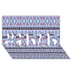 Fancy Tribal Border Pattern Blue #1 Dad 3d Greeting Card (8x4)  by ImpressiveMoments