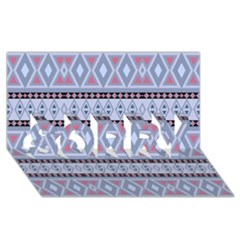 Fancy Tribal Border Pattern Blue Sorry 3d Greeting Card (8x4)  by ImpressiveMoments