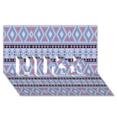 Fancy Tribal Border Pattern Blue Hugs 3d Greeting Card (8x4)  by ImpressiveMoments