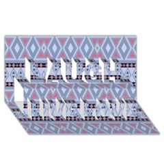 Fancy Tribal Border Pattern Blue Laugh Live Love 3d Greeting Card (8x4)  by ImpressiveMoments
