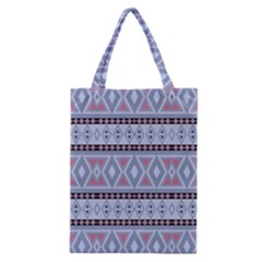 Fancy Tribal Border Pattern Blue Classic Tote Bags by ImpressiveMoments