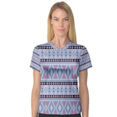 Fancy Tribal Border Pattern Blue Women s V Neck Sport Mesh Tee by ImpressiveMoments