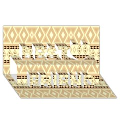 Fancy Tribal Border Pattern Beige Best Friends 3d Greeting Card (8x4)
