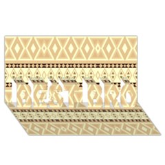 Fancy Tribal Border Pattern Beige Best Bro 3d Greeting Card (8x4)  by ImpressiveMoments