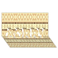 Fancy Tribal Border Pattern Beige Sorry 3d Greeting Card (8x4)  by ImpressiveMoments
