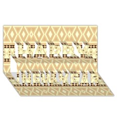 Fancy Tribal Border Pattern Beige Happy New Year 3d Greeting Card (8x4)  by ImpressiveMoments
