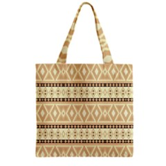 Fancy Tribal Border Pattern Beige Grocery Tote Bags by ImpressiveMoments