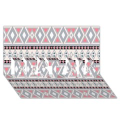 Fancy Tribal Border Pattern Soft Best Sis 3d Greeting Card (8x4)  by ImpressiveMoments