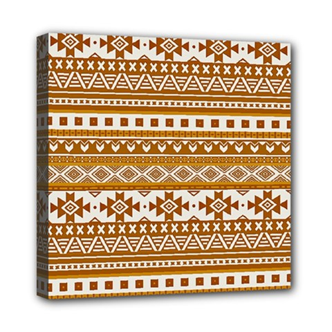 Fancy Tribal Borders Golden Mini Canvas 8  X 8  by ImpressiveMoments