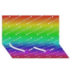 Merry Christmas,text,rainbow Twin Heart Bottom 3d Greeting Card (8x4)  by ImpressiveMoments