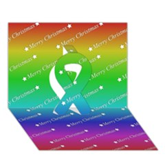 Merry Christmas,text,rainbow Ribbon 3d Greeting Card (7x5)  by ImpressiveMoments