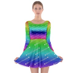 Merry Christmas,text,rainbow Long Sleeve Skater Dress by ImpressiveMoments