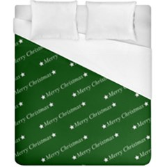 Merry Christmas,text,green Duvet Cover Single Side (double Size) by ImpressiveMoments