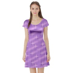 Many Stars, Lilac Short Sleeve Skater Dresses