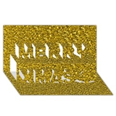 Sparkling Glitter Golden Merry Xmas 3d Greeting Card (8x4)  by ImpressiveMoments