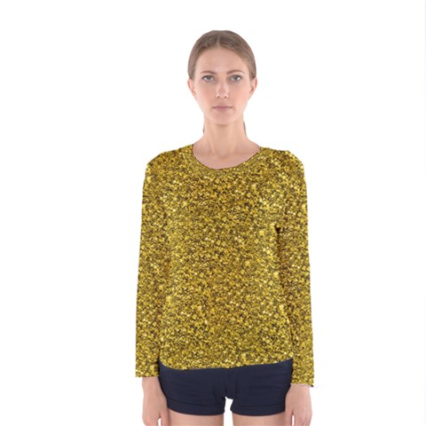 Sparkling Glitter Golden Women s Long Sleeve T-shirts by ImpressiveMoments