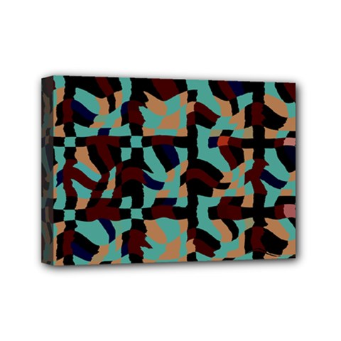 Distorted Shapes In Retro Colors Mini Canvas 7  X 5  (stretched) by LalyLauraFLM