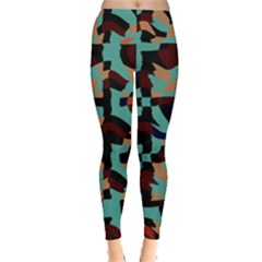 Distorted Shapes In Retro Colors Leggings by LalyLauraFLM