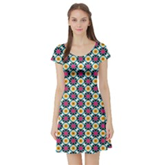 Cute Abstract Pattern Background Short Sleeve Skater Dresses by creativemom