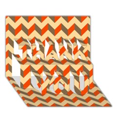 Modern Retro Chevron Patchwork Pattern  Thank You 3d Greeting Card (7x5)  by creativemom