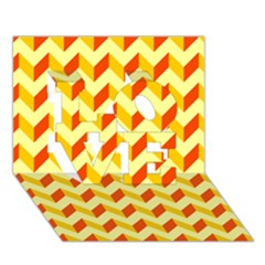 Modern Retro Chevron Patchwork Pattern  Love 3d Greeting Card (7x5)  by creativemom