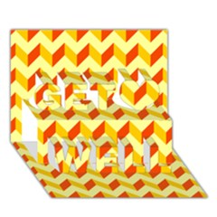 Modern Retro Chevron Patchwork Pattern  Get Well 3d Greeting Card (7x5)  by creativemom