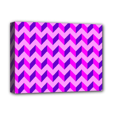 Modern Retro Chevron Patchwork Pattern Deluxe Canvas 16  X 12   by creativemom
