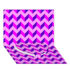 Modern Retro Chevron Patchwork Pattern Heart Bottom 3d Greeting Card (7x5)  by creativemom
