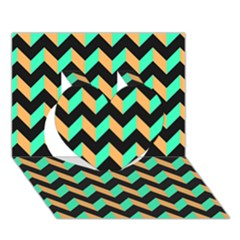 Modern Retro Chevron Patchwork Pattern Heart 3d Greeting Card (7x5)  by creativemom