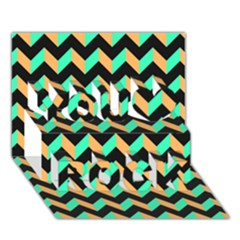 Modern Retro Chevron Patchwork Pattern You Rock 3d Greeting Card (7x5)  by creativemom