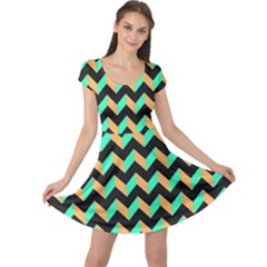 Modern Retro Chevron Patchwork Pattern Cap Sleeve Dresses
