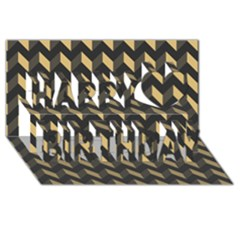 Modern Retro Chevron Patchwork Pattern Happy Birthday 3d Greeting Card (8x4)  by creativemom