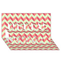 Modern Retro Chevron Patchwork Pattern Merry Xmas 3d Greeting Card (8x4)  by creativemom