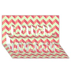 Modern Retro Chevron Patchwork Pattern Laugh Live Love 3d Greeting Card (8x4)  by creativemom