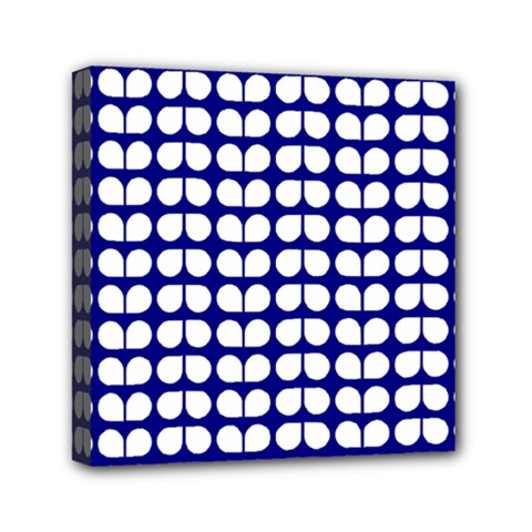 Blue And White Leaf Pattern Mini Canvas 6  X 6  by creativemom