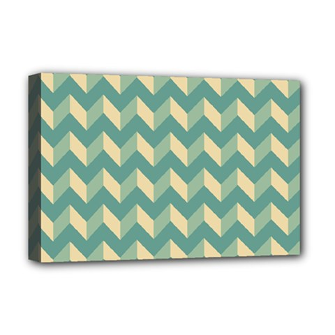 Modern Retro Chevron Patchwork Pattern Deluxe Canvas 18  X 12   by creativemom