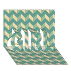 Modern Retro Chevron Patchwork Pattern Girl 3d Greeting Card (7x5)  by creativemom